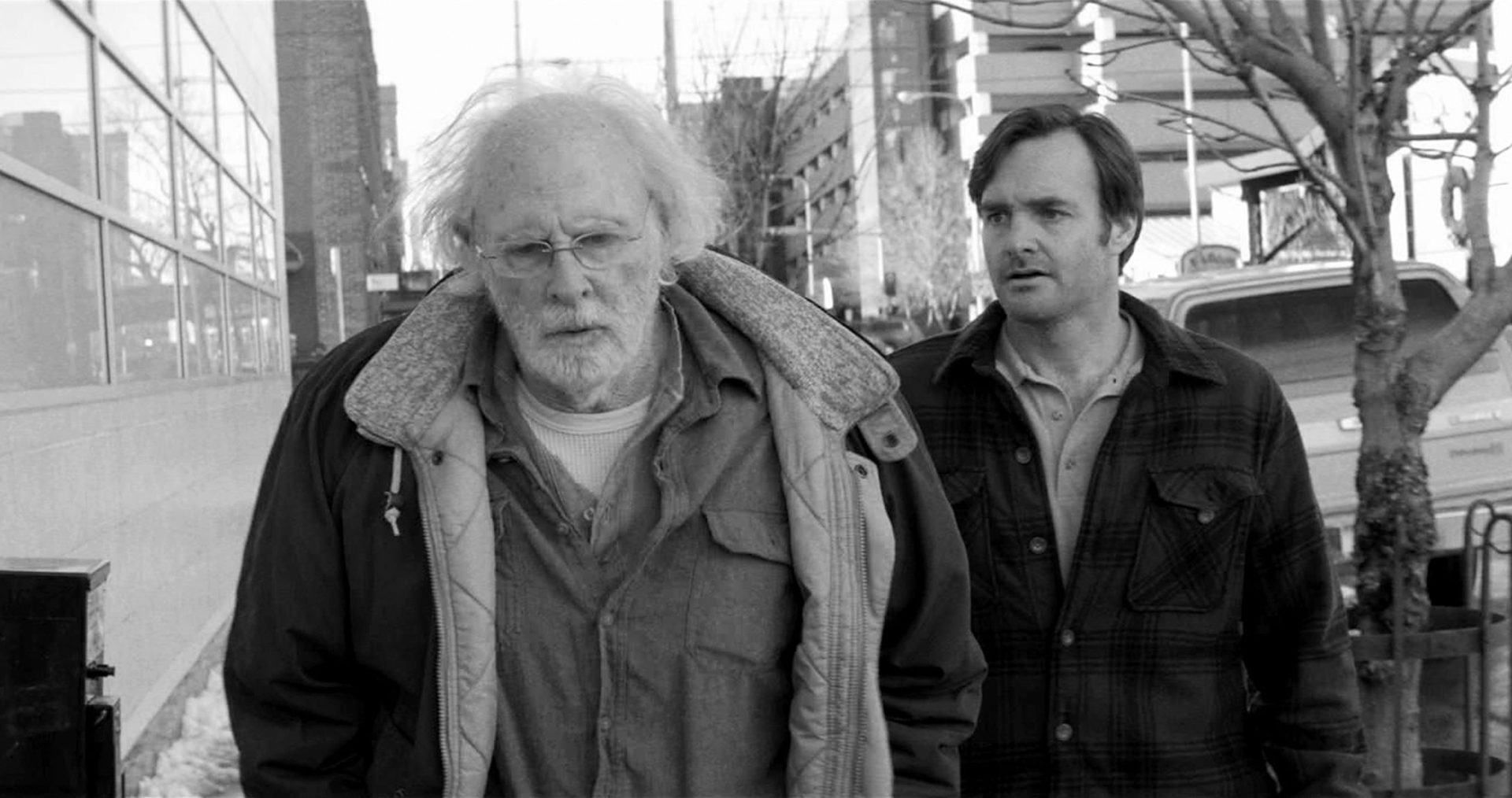 """This image released by Paramount Pictures shows Bruce Dern as Woody Grant, left, and Will Forte as David Grant in a scene from the film """"Nebraska,"""" about a booze-addled father who makes to Nebraska with his estranged son in order to claim a million dollar Mega Sweepstakes Marketing prize. (AP Photo/Paramount Pictures) ORG XMIT: NYET157"""